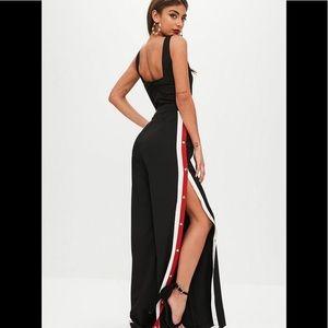 Missguided Black Side Stripe Popper Jumpsuit 8